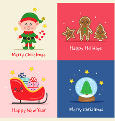 set christmas cards with fairy characters vector image