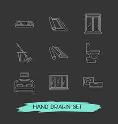 Set of interior icons line style symbols with vector