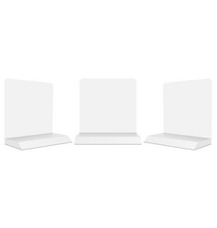 Set of tabletop display stands mockups isolated vector