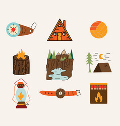 set travel and adventure cabin life vector image