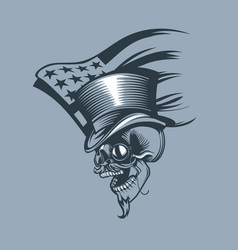 skull in a cylinder and pince-nez against vector image