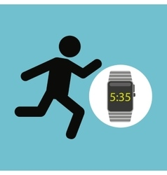 Smart watch technology with character man run vector