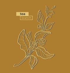 Tea branch gold vector