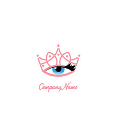 Tiara eye makeup logo design vector