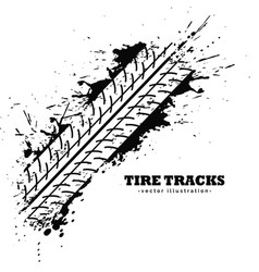 Tire track impression on white background vector