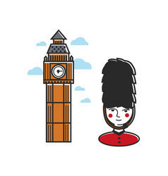 Tower with clock and royal guard in uniform vector