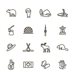 travel canada signs black thin line icon set vector image
