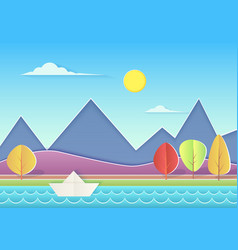 trendy paper cuted landscape with mountains hills vector image