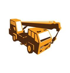 Truck crane cartage hoist retro vector
