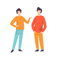 Two young men dressed in casual clothing standing vector