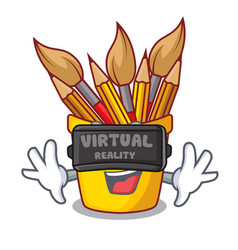 Virtual reality pot pencil isolated with the vector