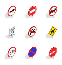 Warning traffic sign icons isometric 3d style vector