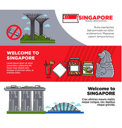 Welcome to singapore promotional posters with vector