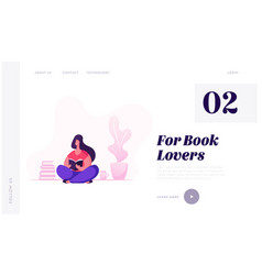 woman reading book website landing page education vector image