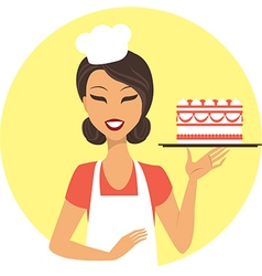 Young girl confectioner vector