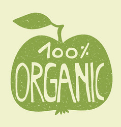 100 organic on a green apple vector image
