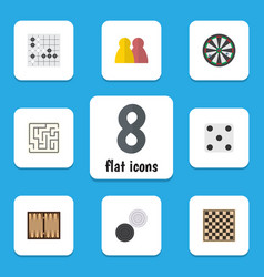flat icon play set of arrow chequer dice and vector image vector image