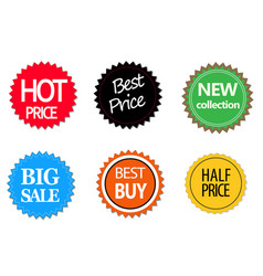 set of commercial sale stickers elements and vector image vector image