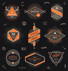 Set of hipster trendy emblems labels and sign vector image vector image