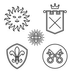 Vintage medieval design elements vector image