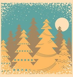 Vintage winter card with snow frame vector image vector image