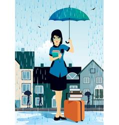 Woman holding an umbrella vector image vector image