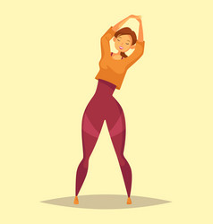 woman or girl doing stretch exercise at gym vector image