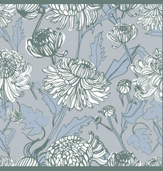 japanese chrysanthemum hand drawn seamless pattern vector image vector image