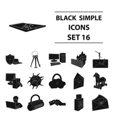 hackers and hacking set icons in black style big vector image vector image