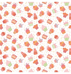 Hand drawn seamless pattern with cupcakes birthday vector