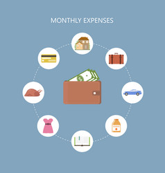 monthly expenses concept vector image