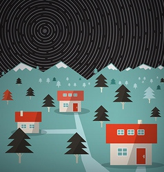 Night mountain landscape with star trails on sky vector