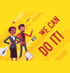 we can do it business motivation poster vector image
