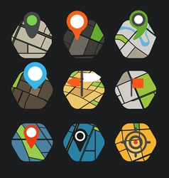 Abstract city map with symbols collection vector image vector image