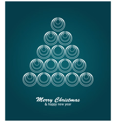 Christmas card with white tree and balls on blue vector image