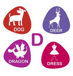 cute alphabet in d letter for dog deer vector image vector image