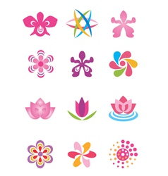Symbols icons flowers vector image vector image