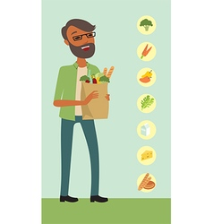 Young man holding a shopping bag vector image vector image