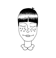 A girls head with hearts shape freckles vector