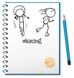 A notebook with a sketch of two people skating vector