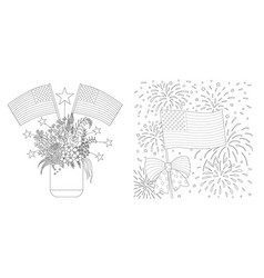 american flags drawing set for coloring page cards vector image