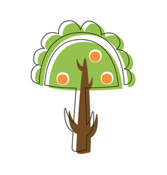 Apple tree with apples garden nature cute fairy vector