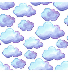 Aquarelle seamless pattern with clouds vector