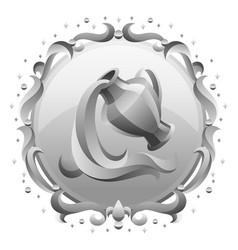 Aquarius zodiac sign with silver frame horoscope vector