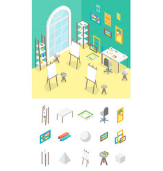Artist workplace and elements part isometric view vector