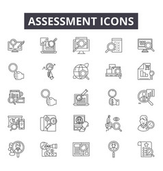 Assessment line icons for web and mobile design vector
