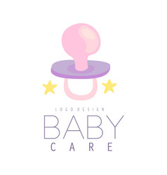 Baby care logo design emblem with baby pacifier vector