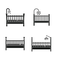 baby crib cradle bed icons set simple style vector image