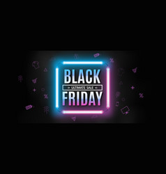 black friday neon banner vector image