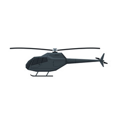 black helicopter flying aircraft air vector image